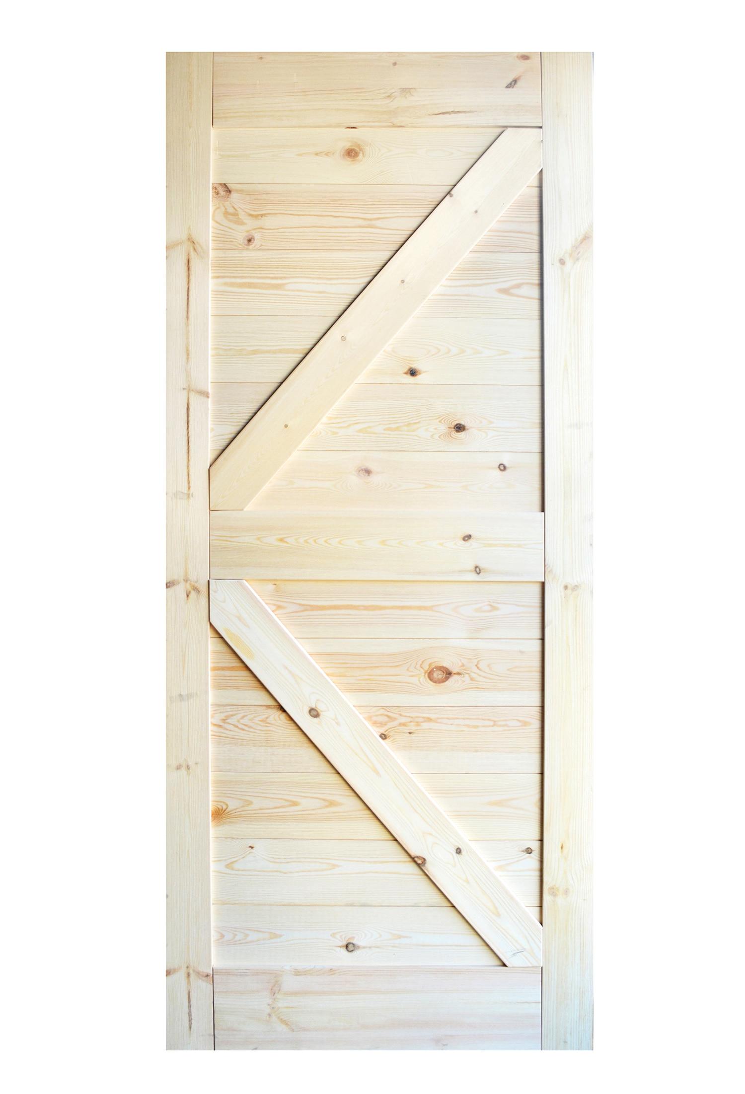 DIYHD 36inX84in Pine Knotty Sliding Barn Wood Door Slab Two-Side Horizontal Arrow Shape Barn Door Slab (Disassembled Unfinished)