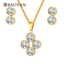 Sistemas de la joyería de oro colgante de cristal de acero inoxidable con pendiente para las mujeres