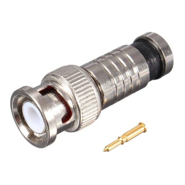 50 قطعة BNC ضغط ذكر موصل التوصيل ل محور RG6/RG59 كابل كاميرا تلفزيونات الدوائر المغلقة
