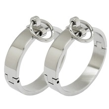 Polished stainless steel lockable slave wrist and ankle cuffs bondage restraints bracelet with removable O ring