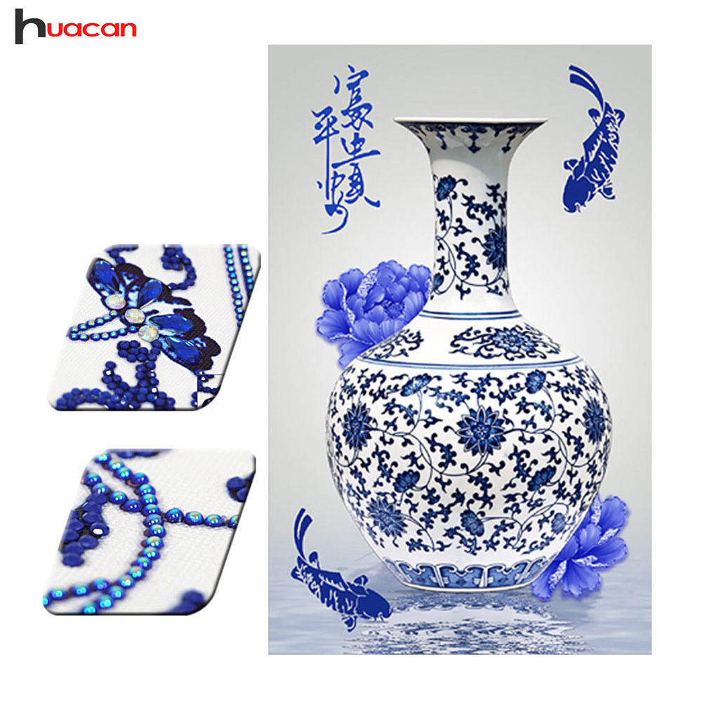 Flower Diamond Painting Special Shape Diamond Embroidery Blue And White Porcelain Vase Home Decoration Arts And