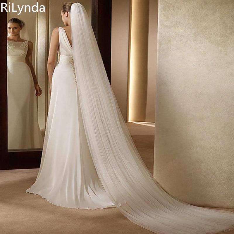 Свадебные аксессуары 3 метра 2 слоя свадебная вуаль белая слоновая кость простая Фата для невесты с расческой свадебная вуаль горячая распр...