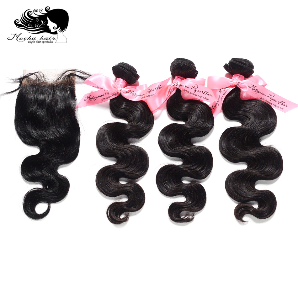 MOCHA Hair <font><b>10A</b></font> Malaysia Virgin Hair Body Wave 3 Bundles With 4x4 or 13x4 Closure Human Hair Extensions Free Part <font><b>Lace</b></font> <font><b>wigs</b></font> image