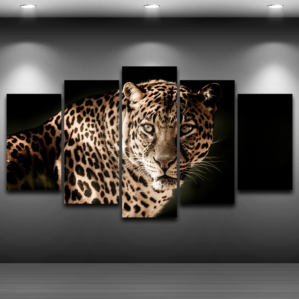 Modern Style 5 Panel Animals The Cool Leopard Canvas Painting Posters Home Decor Painting Print Wall Picture for Living Room