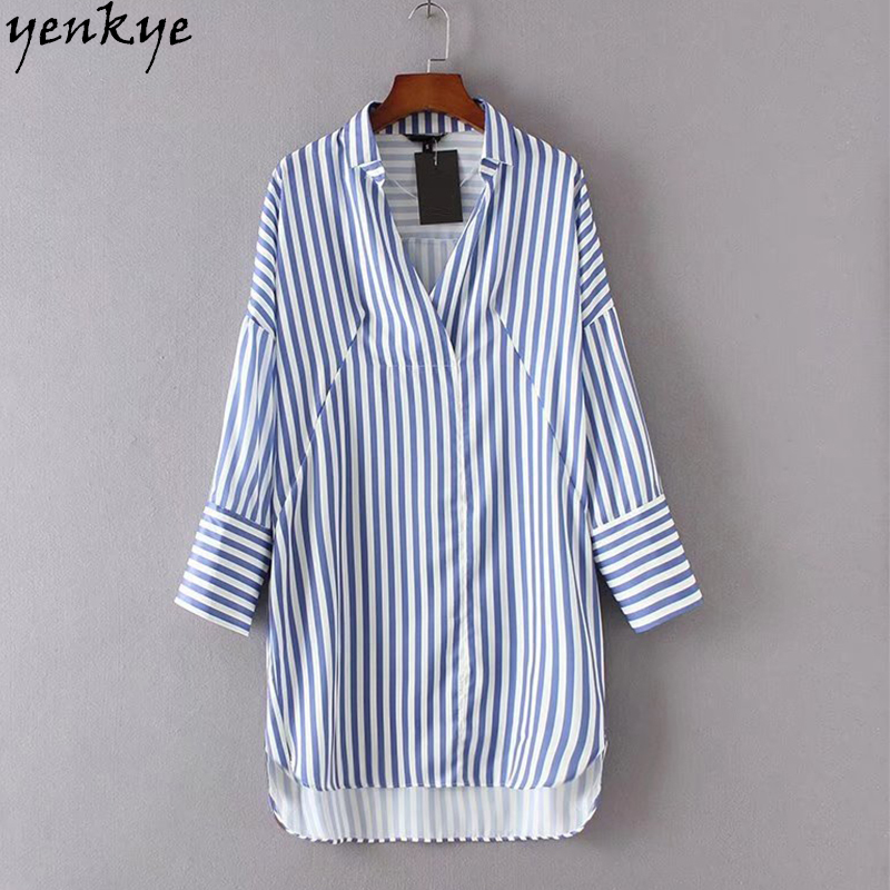 Summer 2017 Blue Striped Long Shirt Women Blouses European
