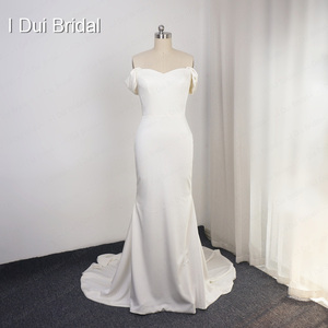 Image 2 - Simple Crepe Sheath Wedding Dress Elegant Bridal Gown High Quality Off Shoulder 2020 New Style