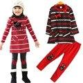 Roupa 2015 das Crianças Little Fawn Stripe Vestido Cervos da Menina Terno 2 pcs manga Comprida Vestido + Leggings Bebê Conjunto da menina