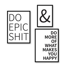 Poster Do Epic Shit More What makes you Happy Quote Wall Art Giclee Print Canvas Painting Pictures Home Decor for Living Room