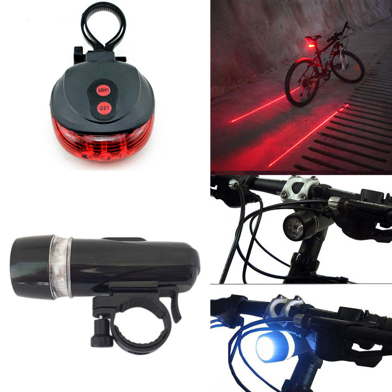 Bike Lights LED Bicycle Front Head Light+Tail Light Set MTB Road Bike Rear Lights Cycling Lamp Flashlight Bicycle Accessories