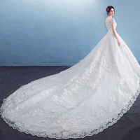 Dream High End Luxury Cathedral Royal Wedding Dresses With Sleeves 2019 Beading Flower Lace Wedding Dress Custom Made Casamento
