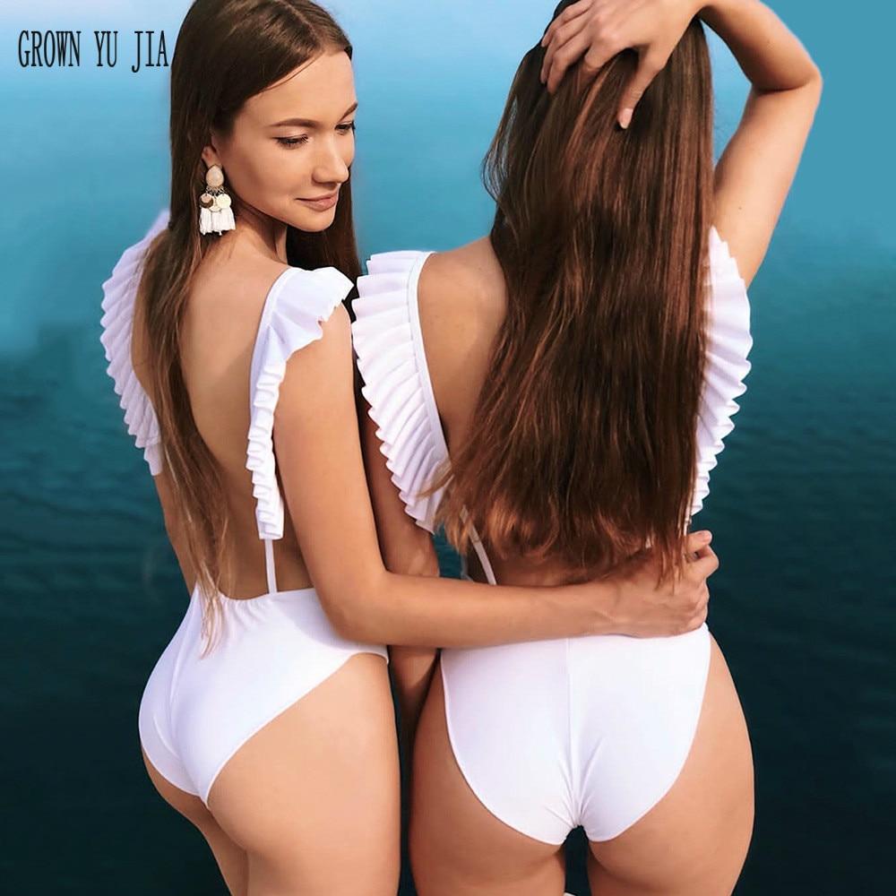 Sweet-Tempered Nieuwe Vrouwen Sexy Jumpsuit Badmode Print 3d Kant Schouderriem Sexy Sling Bikini Badpak Push-up Backless Wit Badpak