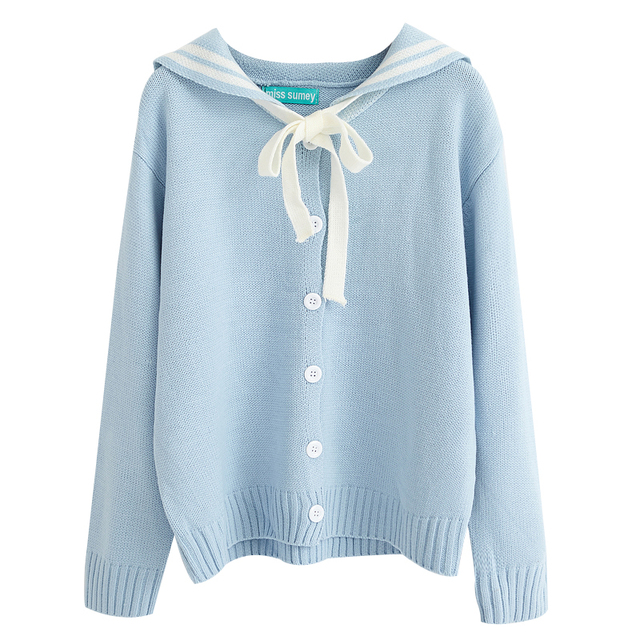 Kawaii Loose Cotton Sweater with Buttons