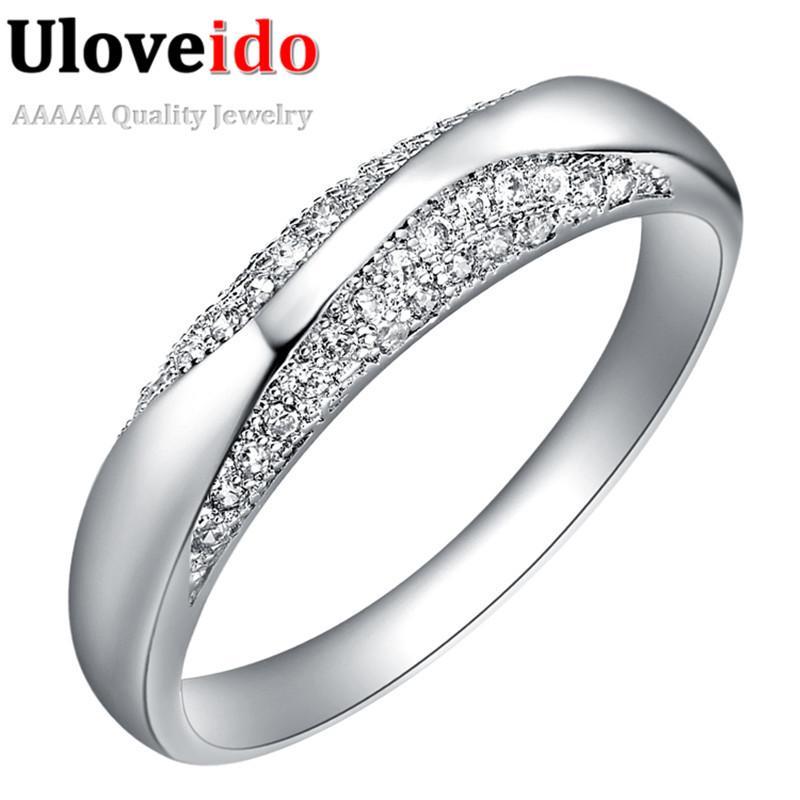 Uloveido 5% Off Engagement Rings for Women Silver Color Promise Ring Female Zirconia Fashion Ringen Jewellery My Orders J209