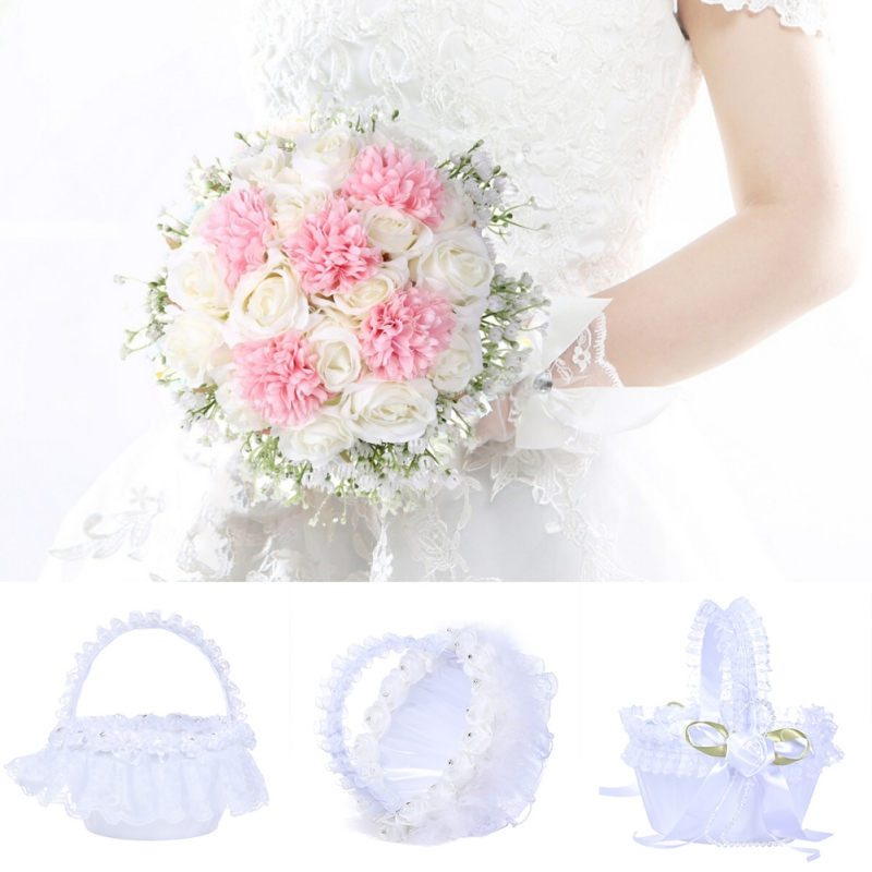 European Wedding Lace Flower Basket Handmade Bamboo Collection Satin Rose Petals Holder Decoration