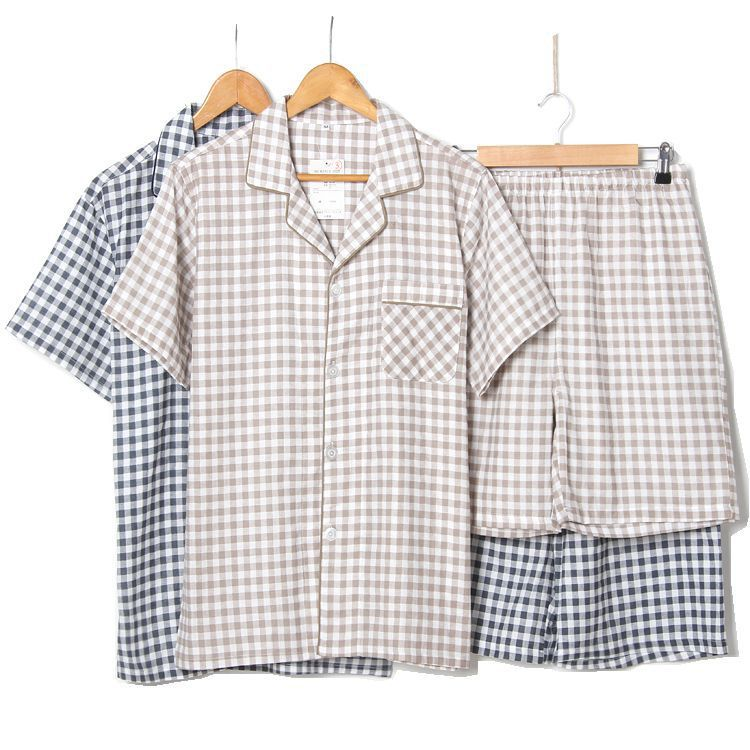 Men 2018 Plaid Pajamas Cotton Summer Men Sleep Short Pants Pijamas Sleepwear Night Suit Casual Homewear Male Pyjama Set 2pcs/Set