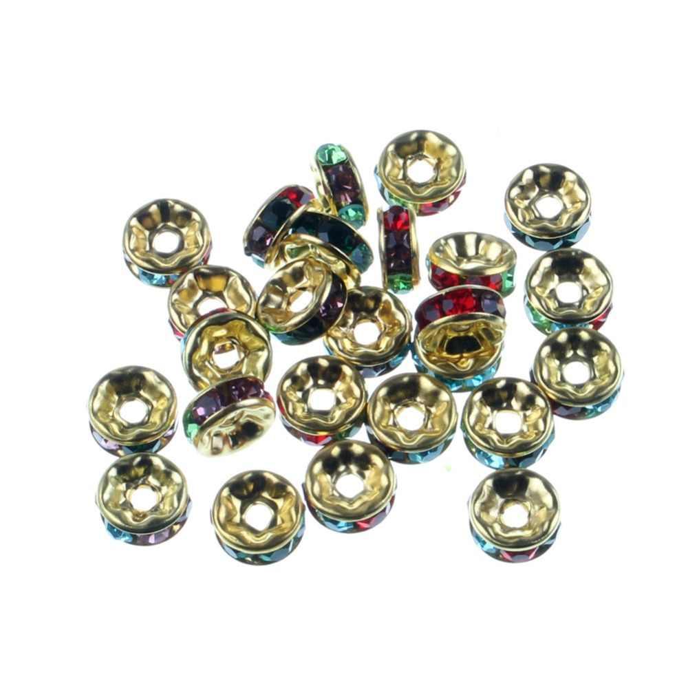 50 adet karışık kristal boncuklar takı bulguları Rhinestone Rondelle gevşek halka boncuk takı yapımı için bilezikler aksesuarları Diy