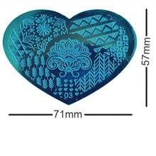2 unids/set DIY Forma de Corazón Polaco Belleza Encanto Placas Estampación Sello Del Clavo 3d Nail Art Plantillas Plantillas Herramientas de Manicura