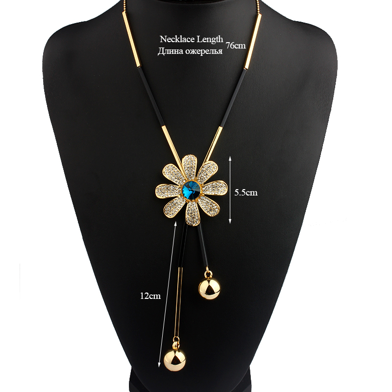 f60fdccb174b VIVILADY Fashion Crystal Flower Jewelry Sets Women Mother Gold Color Long  Beads Chain Sweater Necklaces Earrings Birthday Gifts-in Jewelry Sets from  Jewelry ...