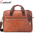 CONTACT'S Men Messenger Bag Genuine Leather Male Shoulder Crossbody Bag Famous Brands Designer Dollar Price Business Briefcase