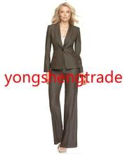 Women's Suit   Long Sleeve Single Button Shawl Collar Jacket & Wide Leg Pants  Brand Women Suit  679