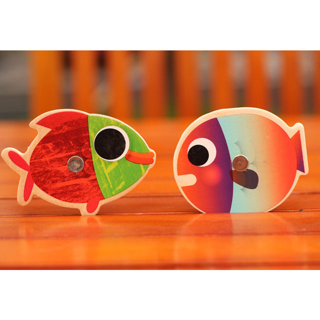 14 Fishes + 2 Fishing Rods Wooden Children Toys Fish Magnetic Pesca Play Fishing Game Tin Box Kids Educational Toy Boy girl