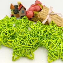 10Pcs 6CM Green Lovely Rattan Star Sepak Takraw Christmas Birthday Wedding Party Decorations Home DIY Ornaments