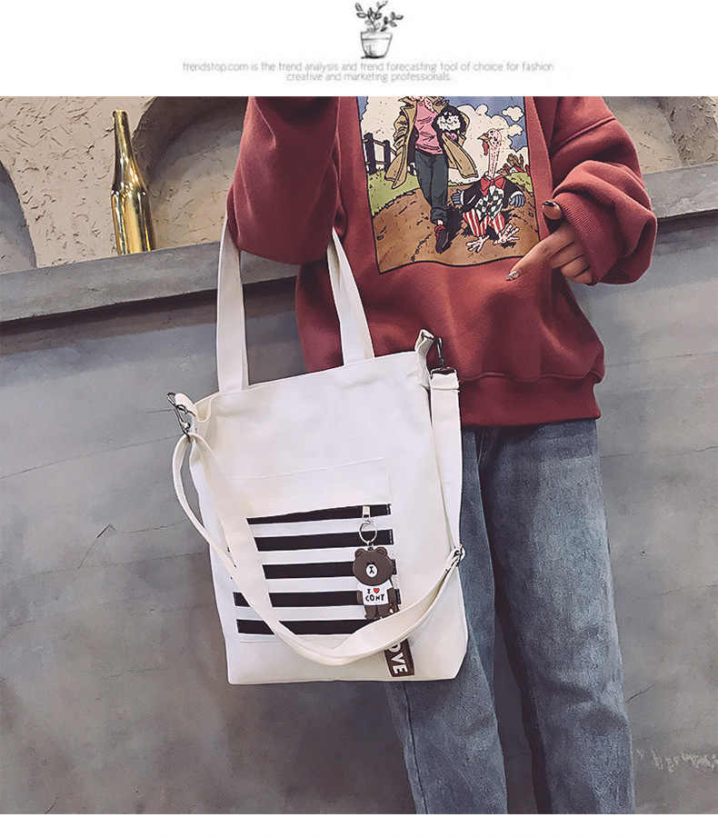 70f0fc28d20 ... 여자를위한 캐주얼 캔버스 토트 화이트 컬러 핸드백 여성을위한 한국어 스타일 crossbody 가방 ...
