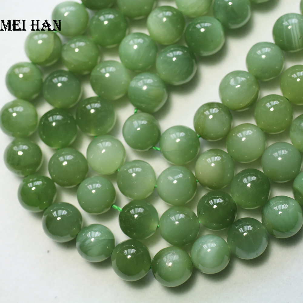 Meihan Wholesale (43pcs/set/52g) natural 9 9.5mm A+ Russian jadeite smooth round beads stone wholesale-in Beads from Jewelry & Accessories
