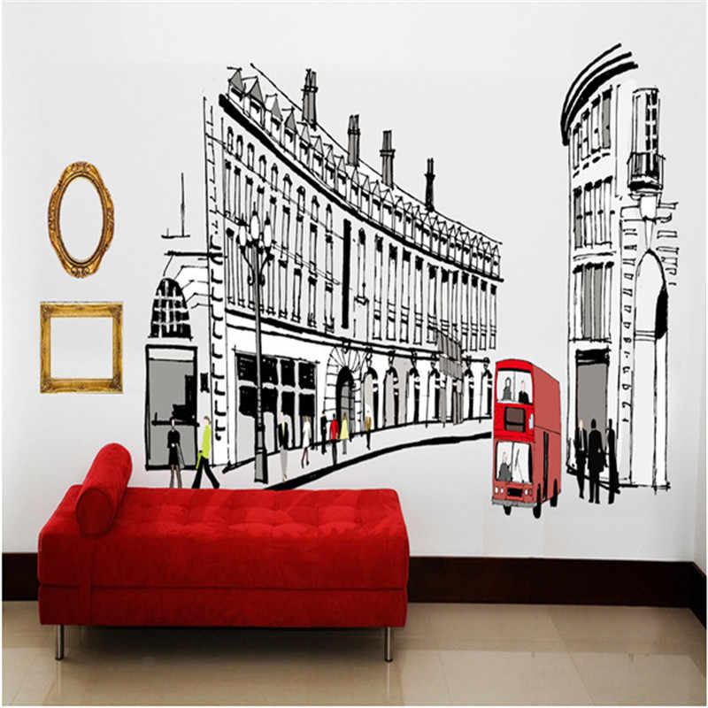 Rome street city architecture landscape wall stickers europe trip home decoration living room study removable black white decals