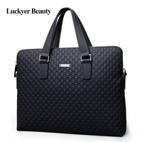 LUCKYER BEAUTY Men'S Genuine Leather Briefcases Laptop Bag High Quality Casual Portfolio for Men Fashion Male Shoulder Bag