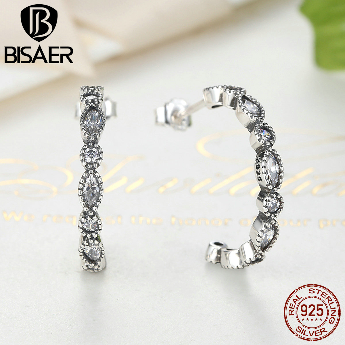 BISAER Real 925 Sterling Silver Simple Geometric Stud Earrings for Women Brincos Fashion Earrings Jewelry 2018 WEUS486