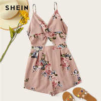 SHEIN Tie Back Twist Peekaboo Front Textured Slip Romper Boho Spaghetti Strap Sleeveless Cut Out Pink Summer Women Playsuit
