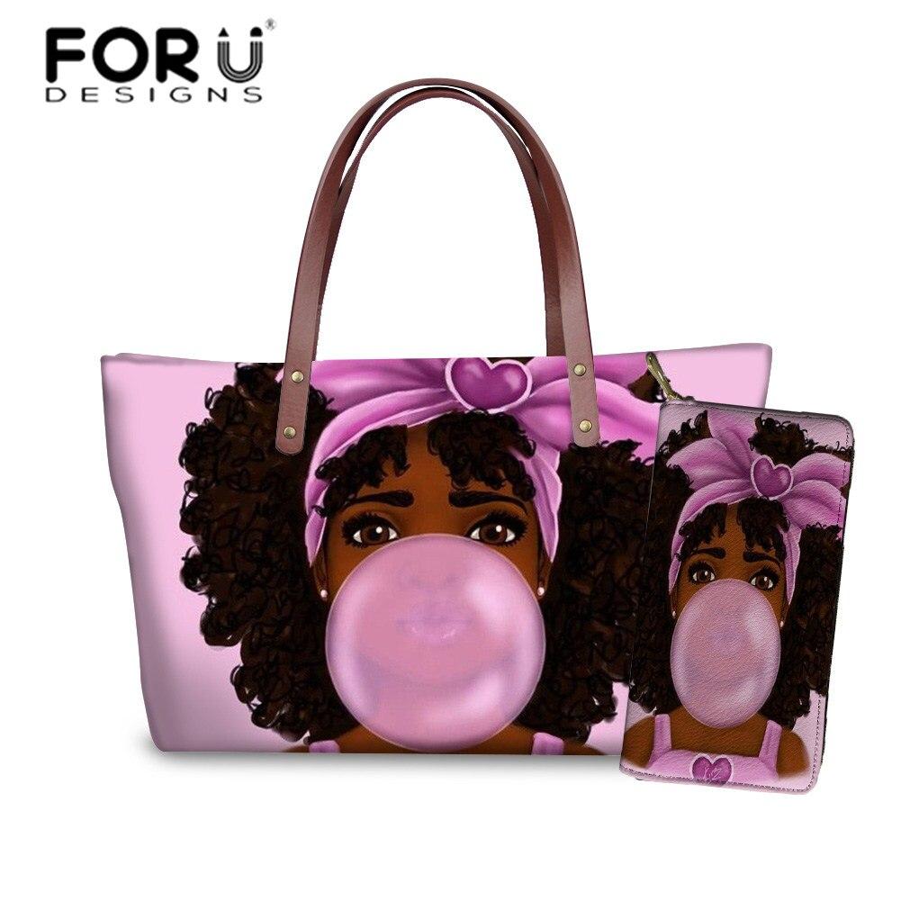 Conjunto para as Mulheres Bolsas de Praia Bolsa de Mão Forudesigns Bolsas Arte Preta Africano Americano Meninas Impressão Senhoras & Bolsa Feminina Totes 2 Pçs