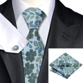 Hot Mens Corbata Verde Azul Floral Corbata Para Los Hombres Wedding Party Supplies corbatas Hanky Gemelos Set Negocio C-1139