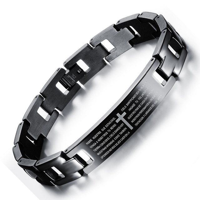 Stainless Steel Man Bracelet Classical Spanish Holy Bible + Cross Design Black Men Link Chain Jewelry GS768