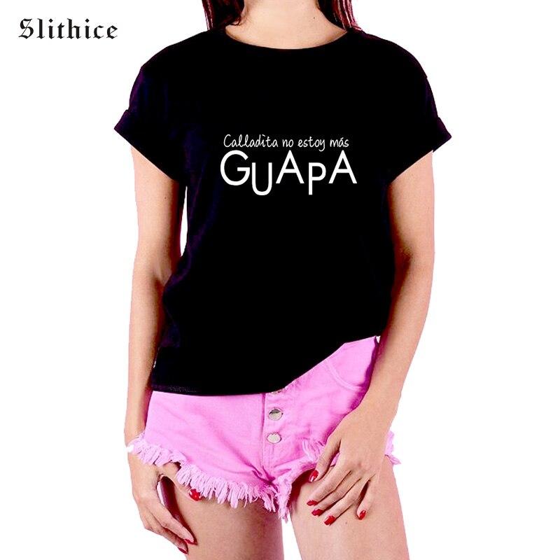 Женская футболка Slithice, хлопковая Повседневная футболка с коротким рукавом и принтом испанские буквы