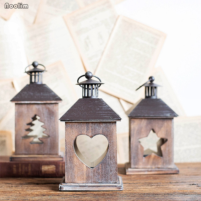 American Retro Candle Holder Wood Portable Heart-shaped Christmas Tree Pentagonal Candlestick Wedding Party Desktop Decoration