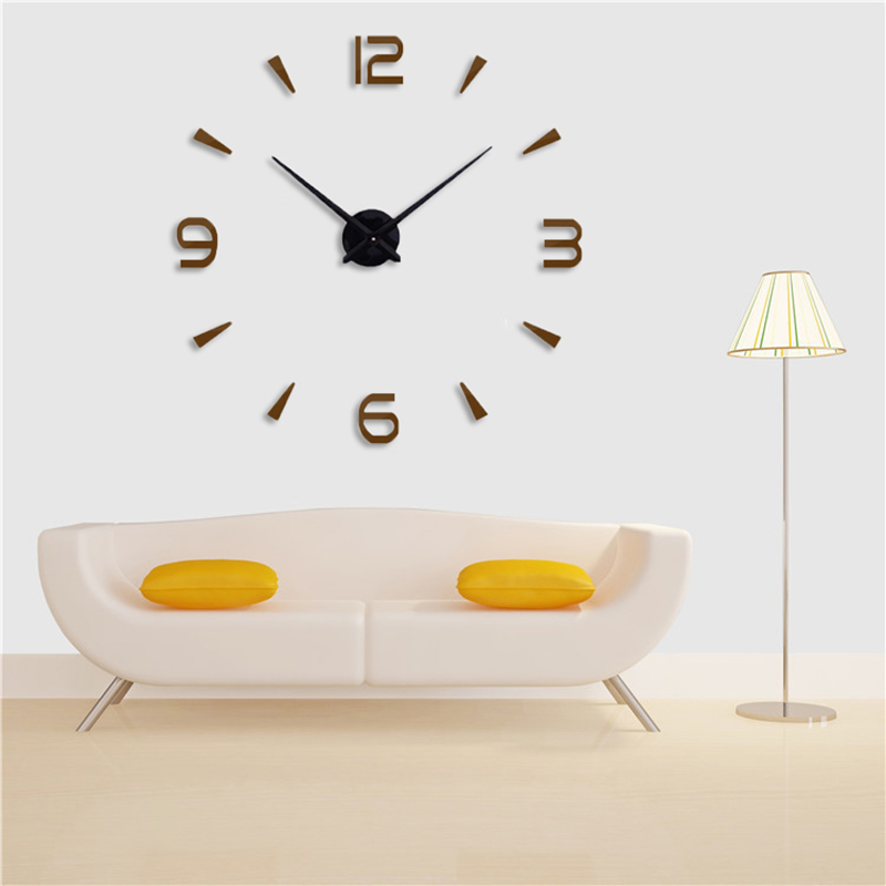 130cm x 130 cm 2019 Super Big DIY Wall Clock Acrylic+EVR+Metal Mirror Super Big Personalized Digital Watches Clocks Freeshipping
