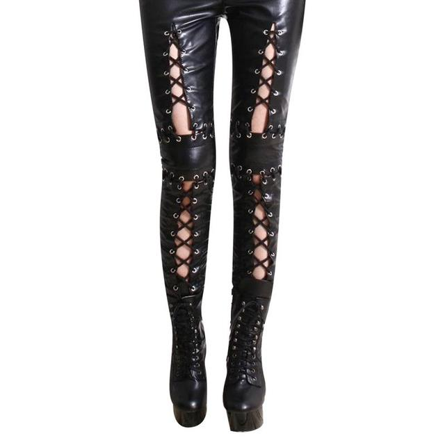 cdea2bc8c1b 2015 Hot Sale Women Black Leather Lace-up Leggings High Quality Vinyl  Leather Hollow Out