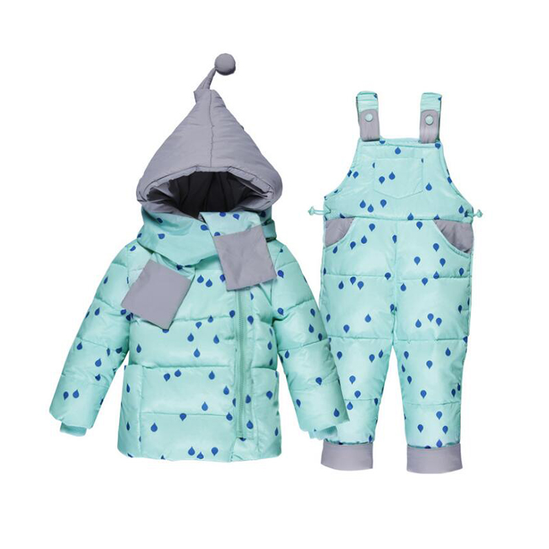 Bibicola 2018 winter childrens clothing set kids ski suit overalls baby girls down coat warm snowsuits jackets+bib pants 2pcs