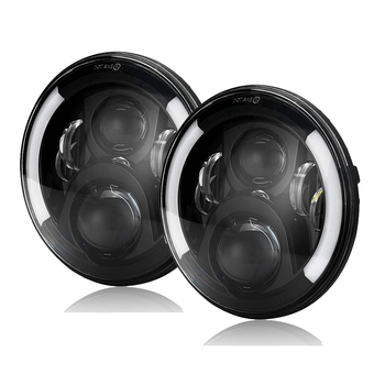 Marlaa 1pair Wrangler 7Inch Round Led Headlight Halo Ring DRL Amber Left & Right Turn Signal Headlamp for lada niva 4x4