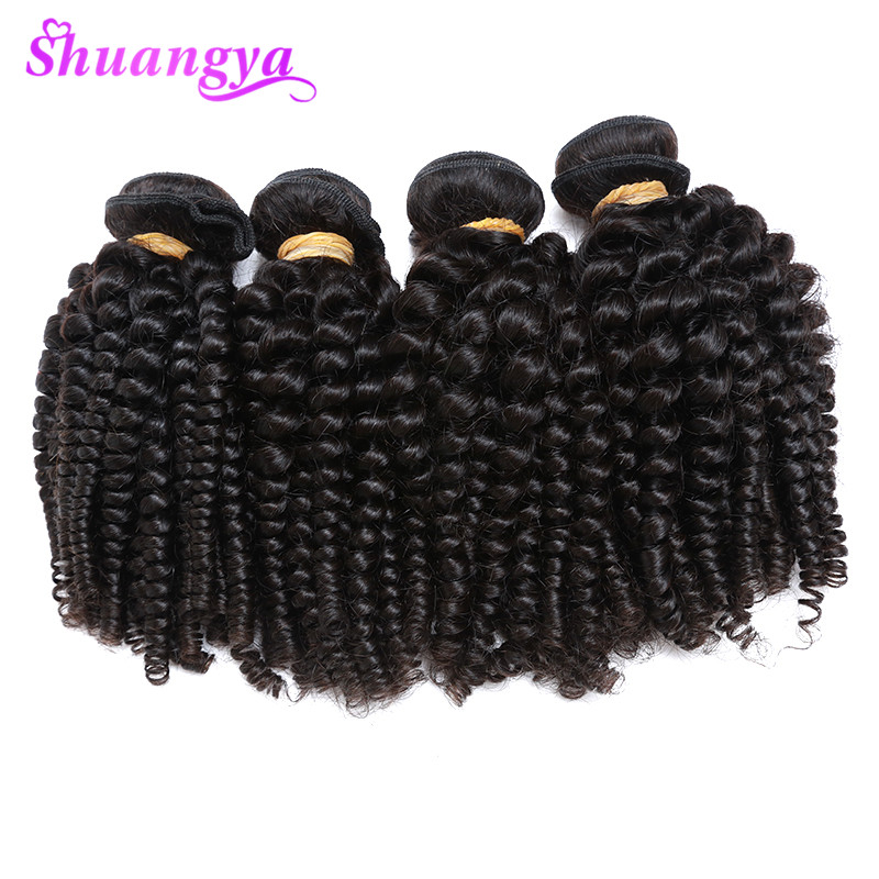 Brazilian Bouncy Curly Hair 4 Bundles Funmi Hair Weaves 100% Human Hair Bundles Shuangya Remy Hair Can Be Dyed And Straightened