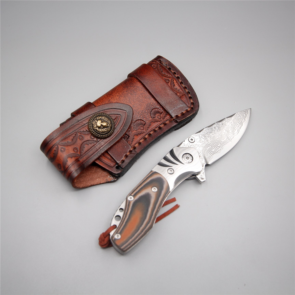 Russian style knife folding handmade hunting tactical knives damascus steel blade fire camping leather wooden handle knife tool round handmade wallet semi cirle knife handmade leather diy tool