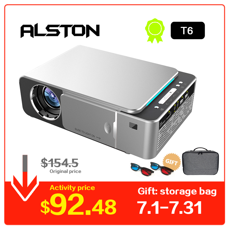 ALSTON T6 full hd led projector 4k 3500 Lumens HDMI USB 1080p portable cinema Proyector Beamer with mysterious gift pochette étanche pour téléphone