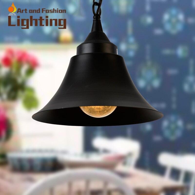 ФОТО Industrial Vintage Horn Pendant Light Simple Matte Black Pendant Lights Indoor And Outdoor Hanging Lightings Diameter 29 35cm