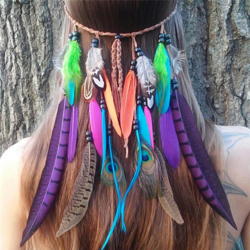 chorro de bohemio festival hippie diadema tocado de plumas de pelo accesorios boho del tocado de plumas de pavo real para las mu