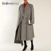 TWOTWINSTYLE Асимметричный шерстяное пальто женские куртки с длинным рукавом негабаритных куртки модная верхняя одежда 2018 осень зима большие ра...