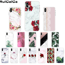 RuiCaiCa marble flower leaf printed Soft Silicone TPU Phone Cover for Apple iPhone 8 7 6 6S Plus X XS MAX 5 5S SE XR Cover lavaza ybn nahmir soft case for apple iphone 6 6s 7 8 plus 5 5s se x xs max xr tpu cover