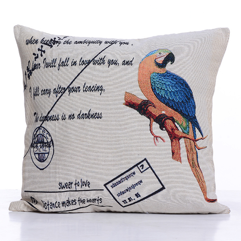 Cushion Cover Flower Bird Parrot Cushion Polyester Cotton Pillowcase New Types Of Decorative Pillows