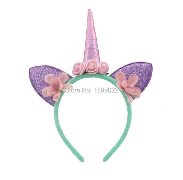 Handmade Cute Flower Crown Unicorn Headband Kids Children Purple Ears Girls  Pink Horn Hairband Mint Color Birthday Party Supply 39c48052c5a